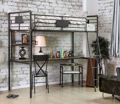 Shop for Furniture of America Herman Industrial Antique Black Twin Loft over Workstation Bunk Bed. Get free delivery On EVERYTHING* Overstock - Your Online Furniture Outlet Store! Get in rewards with Club O! Bunk Bed With Desk, Trundle Bed With Storage, Bunk Beds With Stairs, Cool Bunk Beds, Twin Bunk Beds, Kids Bunk Beds, Loft Spaces, Small Spaces, Twin Size Loft Bed