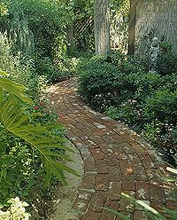 DIY:  Old Bricks for a New Path - info on how to construct a brick path using old bricks.