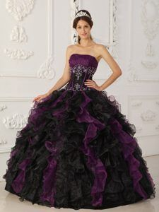 Strapless Purple and Black Organza Ruched Ruffled Quinceanera Dress with Appliques