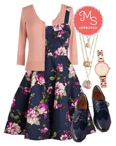 """""""Pull Up a Cherry Dress"""" by modcloth ❤ liked on Polyvore featuring Olivia Burton and BC Footwear"""