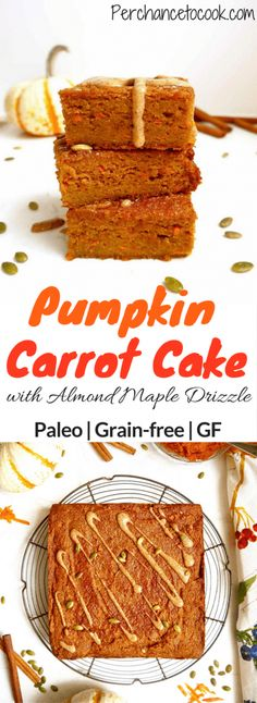 Pumpkin Carrot Cake with Almond Maple Drizzle {Paleo, GF}   Perchance to Cook, www.perchancetocook.com