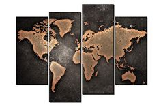 Large wall art canvas metalic world map print wall art map canvas general huge world map black brown background culture ser https gumiabroncs Images
