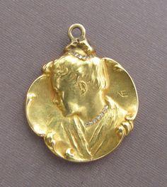 Art Nouveau 18K Gold Pendant With Rose Cut Diamonds Antique Lady 18 Karat Jewelry Circa 1900 on Etsy, £580.63