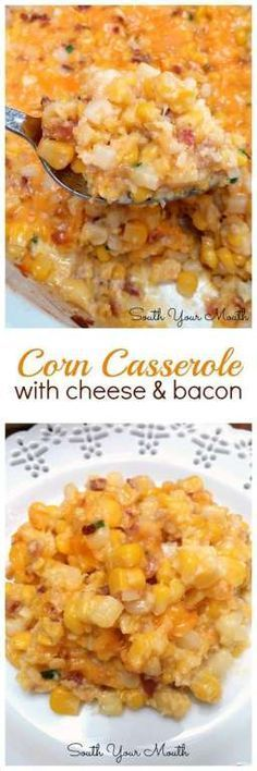 Corn Casserole with Cheese & Bacon! This easy dish comes together quickly with just corn butter cheddar cheese bacon a little flour eggs and chives! Amish Recipes, Corn Recipes, Side Dish Recipes, Vegetable Recipes, Dinner Recipes, Cooking Recipes, Healthy Recipes, Chicken Recipes, Salads