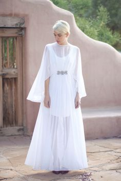 white sheer chiffon flowing capelette grecian by BirdyJames, $425.00 would love this in purple or teal or maybe a navy.