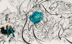 Mural wallpaper for Prada store in Soho by illustrator James jean. See the complete version here http://www.notcot.com/images/pradapaper.jpg