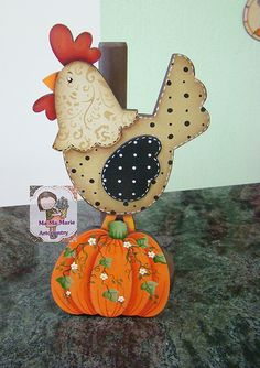 Galinha com abóbora Chicken Crafts, Chicken Art, Arte Country, Country Crafts, Crafts To Make, Diy Crafts, Chickens And Roosters, Country Paintings, Tole Painting