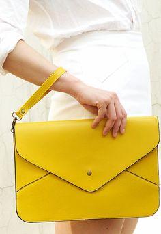 Oversize Vegan Leather Envelope Clutch - Yellow Purse Bag Handbag - Women Ladies - Handmade on Etsy, $9.98