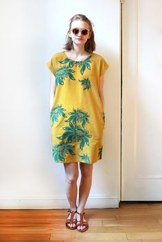 Image of Tesla Linen Day Dress - Lotus / Mustard