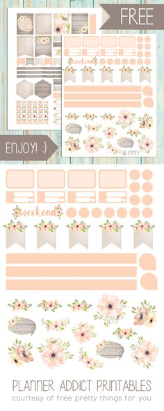 Free Planner Printables: Anemone Blush - Free Pretty Things For You