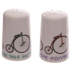 Porcelánová solnička & pepřenka s motivem kola #kolo #keramika #kuchyne #kitchen #accessories #cycling #giftware