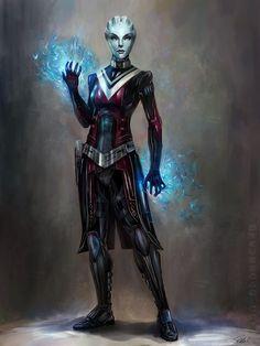 Commissions – Mass Effect Artwork | Steve Goad Art - Asari Spectre Greywalker