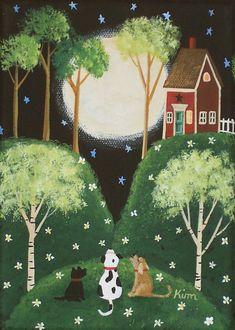 Moon - Moonlit Serenade Folk Art Print by KimsCottageArt on Etsy, $9.95