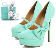 tiffany blue heels with a white bow <3 | SHOES. | Pinterest ...