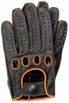 Riparo Reverse Stitched Leather Driving Gloves Black/Cognac
