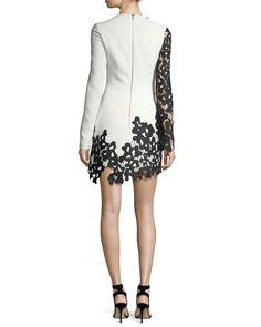 Long-Sleeve Two-Tone Lace Dress