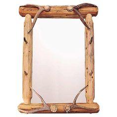 Lodgepole Framed Mirror With Antler Hooks -HCAD-2001