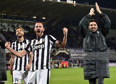 Fernando Llorente Leonardo Bonucci and Gianluigi Buffon of Juventus FC celebrate the victory...