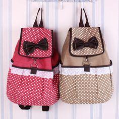 Womens Canvas Backpack Polka Dot Lace School Bag
