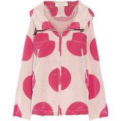 Marni Hooded polka-dot satin-shell jacket