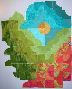 KES Quilts: Although on the post the artist says this quilt is not finished, I really like the way it looks and would love to use the white fabric to finish off the pattern.
