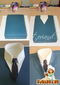 Suit and tie cake made with fondant - missionary