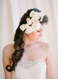 "coiffure mariée, bride, mariage, wedding, hair, hairstyle, braid, updo, chignon, tresse, couronne fleurs, headband"" By KT Merry Photography """