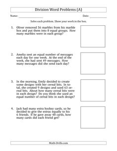 The Division Word Problems with Division Facts from 5 to 12 (A) Math Worksheet from the Math Word Problems Worksheets Page at Math-Drills.com.