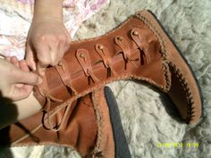Rusty Mok boots, Leather hand made womens moccasin style calf boot with toggles, on Etsy, $266.89
