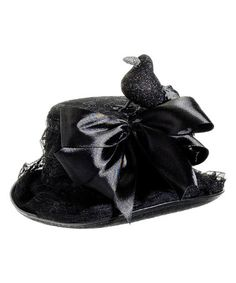 Another great find on #zulily! Black Lace Glitter Crow Hat Décor #zulilyfinds