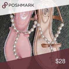 Beige color pearls ... Today New in box ... Available in pink , white, Black , beige .... Shoes Sandals