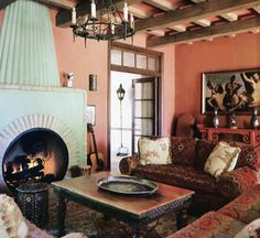 Morrocan influence- different wall color for me, but love the lay out & of course, the fireplace =)