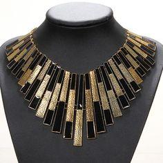 ##005 Chunky-Bib-Statement-Black-Gold-Collars-Choker-Necklace-Pendant