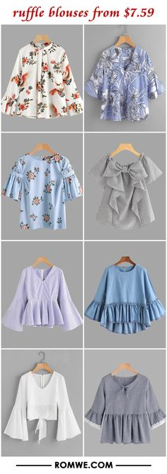 ruffle blouses from $7.59 Stylish Dress Designs, Stylish Dresses, Casual Dresses, Casual Outfits, Cute Outfits, Muslim Fashion, Hijab Fashion, Indian Fashion, Fashion Dresses
