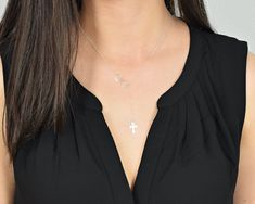 Cross and Infinity Lariat, Lariat Y Necklace, Sterling Silver Lariat, Dainty Lariat, Infinity Cross, Minimalist Necklace, Y Necklace   ****PLEASE NOTE*** I have altered the design ever so slightly to make it more secure, this is now a mock style lariat, where the cross is now attached directly to the infinity symbol and has a clasp in the back.  Also called a Y Necklace, this style does a fantastic job of creating a very alluring neckline. Its a great new way to wear a cross. The cross…