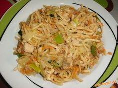 Opékané čínské rýžové nudle Kuřecí maso nakrájíme, osmažíme, podlijeme vodou podusíme 10 min Mrkev a zelí nakrájíme na nudle a pórek na půl měsíčky, chilli papričku nadrobno. přidáme k masu mrkev a papričku a pak zelí. Necháme vydusit vodu a krátce orestujeme, aby zelenina nebyla příliš měkká. Nakonec přidáme sójovou omáčku.  Rýžové nudle připravíme podle návodu  přidáme k masu a spolu ještě krátce osmažíme, případně dochutíme sójovou omáčkou