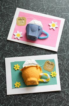 Egg box tea cup card, with a real tea bag. Great for mothers day cards, thank you cards, #craft, recycle, gift, children, #knutselen, kinderen, basisschool, thee, moederdag, beterschap, juf meester cadeau