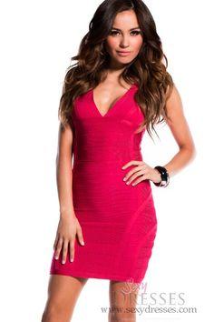 a9c32f15da Magenta Thick Strap V-Neck Bandage Dress. SexyDresses.com