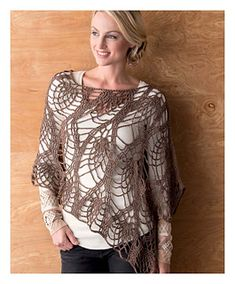 This lace design is a specialty that can only be created with crochet. It will be good for many seasons, so work this pattern in many different yarns! This poncho is made using a rectangle-shaped piece of crocheted fabric. The edge of the sleeve has a curvy shape created by
