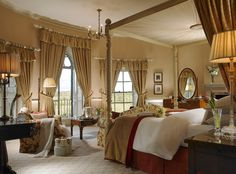This is our beautiful bridal suite overlooking the River Nore, Mount Juliet Estate and the Ballylinch Stud. Weddings at Mount Juliet are memorable with so many locations which act as stunning backdrops for your wedding photos. Luxury Wedding Venues, Hotel Wedding, Mount Juliet, Georgian Mansion, Ireland Wedding, Star Wedding, Aesthetic Room Decor, Bridal Suite, Country Estate