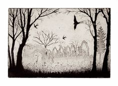 Swallows over the Abbey by timsouthallart on Etsy, £145.00