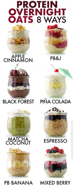 Protein Overnight Oats 8 Ways - these recipes are perfect for healthy meal prep breakfasts! Snacks oats Protein Overnight Oats 8 Ways Overnight Oats Receita, Protein Overnight Oats, Overnight Oatmeal, Best Overnight Oats Recipe, Overnight Oats With Yogurt, Chia Seed Overnight Oats, Peanut Butter Overnight Oats, Healthy Desayunos, Healthy Meal Prep