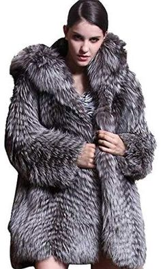 Silver Fox Fur Coat with Hood Winter Coats Women, Coats For Women, Mens Onesie, Fox Fur Coat, Fur Fashion, Chic Dress, Fur Jacket, Leather Jacket, Fall Outfits