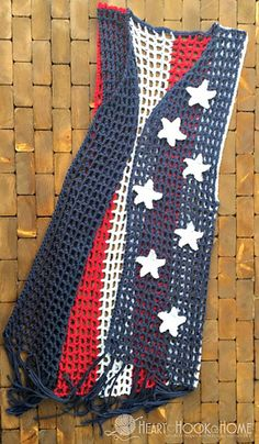 Between Memorial Day and the 4th of July, it's time to whip up a patriotic crochet vest with fringe! Since all of our American holidays occur during the summer, we want this vest to be as open and airy as possible.