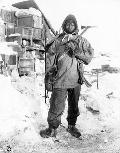 Bundled Up    Photograph by Herbert G. Ponting, National Geographic    Scott chose Petty Officer Edgar Evans (seen in 1910 or 1911) as one of the five men to take the final—and most difficult—part of the South Pole journey.    The South Pole team set off in October 1911 with 16 men, 5 tents, 10 ponies, 23 dogs, 13 sledges, and several pairs of skis.