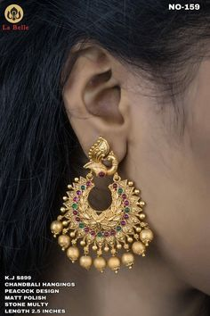 Stunning one gram gold chaandbali studded with multi color stones. Gold Jhumka Earrings, Jewelry Design Earrings, Gold Earrings Designs, Antique Earrings, Necklace Designs, Gold Necklace, Gold Bangles Design, Gold Jewellery Design, Gold Jewelry