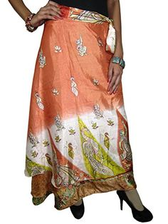 Womans Maxi Skirt Bohemian Wrap Around Skirt Vintage Silk Sari Reversible Sarong Skirts Mogul Interior http://www.amazon.com/dp/B00P3N3JQQ/ref=cm_sw_r_pi_dp_44lvub08AHSS9