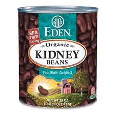 Kidney (dark red), Organic BPA Free lined cans. #EdenFoods