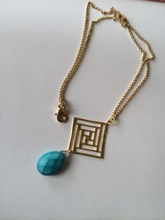 Blue howlite gemstone with gold plated multi squares.