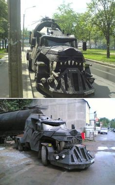 """This weird truck was spotted in Russia. Made by a group of Moscow bikers, the vehicle is called """"Iron Wolf"""". It looks like it just stepped out of the Mad Max movie and it can be met on roads of Russia every day. It is not from some art gallery. Big Rig Trucks, Semi Trucks, Cool Trucks, Cool Cars, Weird Cars, Custom Trucks, Custom Cars, Bugatti, Truck Driving Jobs"""